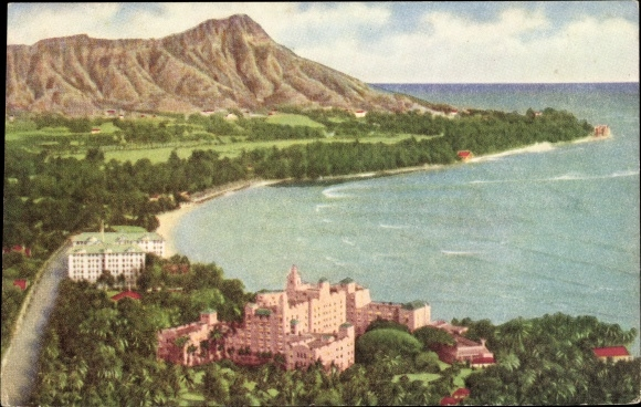 The Royal Hawaiian Hotel with the Moana Hotel and Diamondhead