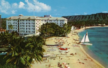 Here we have the Moana Hotel in Waikiki, circa 1956. It was the first hotel to be built in Waikiki, opening its doors in 1901.