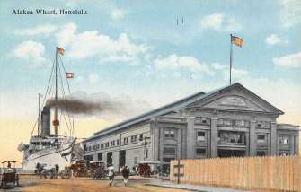 Honolulu Hawaii Alakea Wharf Street View Antique Postcard K66279