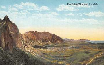 Honolulu Hawaii Pali Of Nuuanu Scenic View Antique Postcard K65910