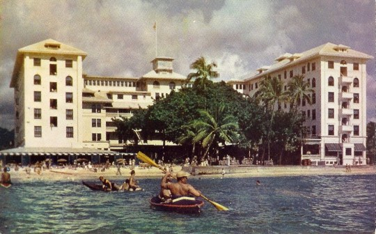 The Moana Hotel on the beach at Waikiki, Honolulu, Hawaii