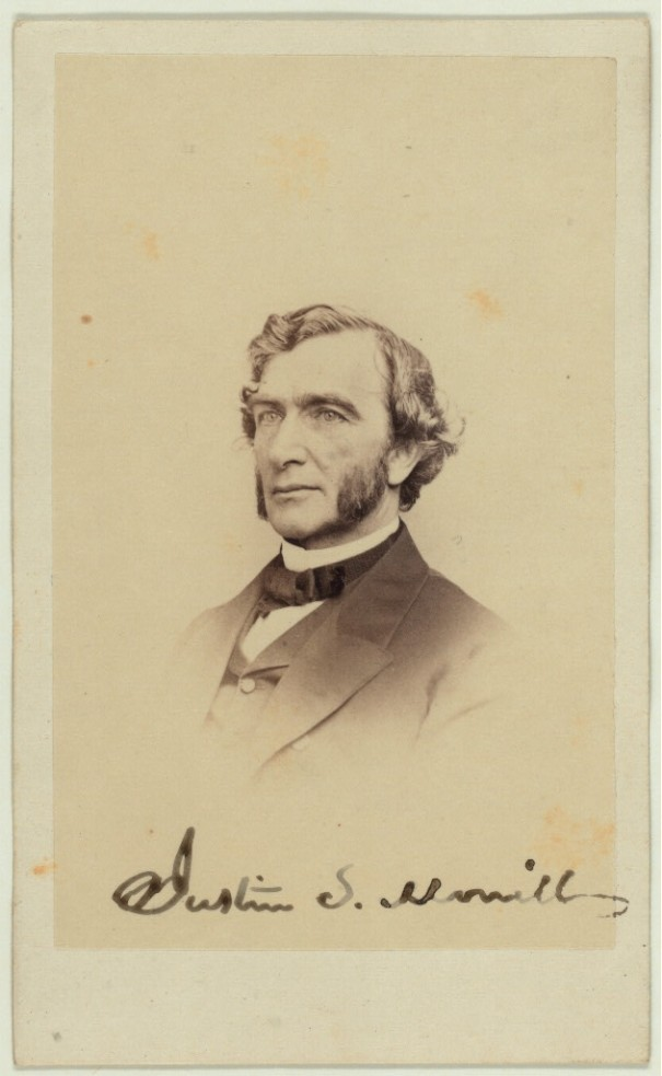 "Justin Smith Morrill (April 14, 1810 – December 28, 1898) was a Representative (1855–1867) and a Senator (1867–1898) from Vermont, most widely remembered today for the Morrill Land-Grant Colleges Act that established federal funding for many of the nation's colleges and universities. (This summary was created using Commons SumItUp) Library of Congress description: ""Hon. J. S. Morrill"""