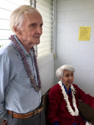 Roland Francis Perkins with Leialoha Perkins; 27.Nov. 2017 Makaha Surfside ©Gérard Koch