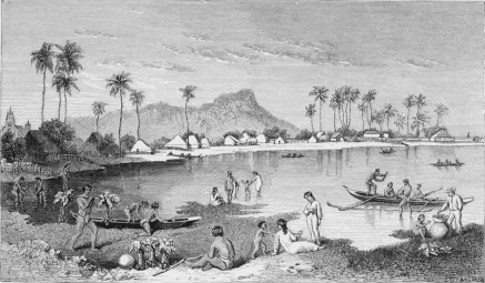Diamond head in the back, Honolulu - 1869